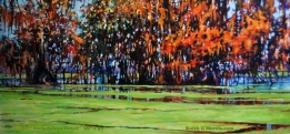 "Title: Atchafalaya Detail,   Acrylic on Boxed Masonite Panel 28"" x 60""      The Henderson Swamp in the Atchafalaya Basin"
